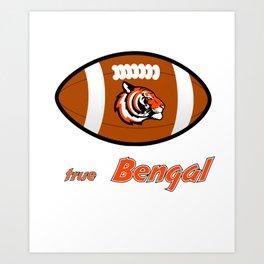 True Bengal American Football Design black lettering Art Print