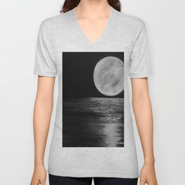 Full Moon, Moonlight Water, Moon at Night Painting by Jodi Tomer. Black and White Unisex V-Neck