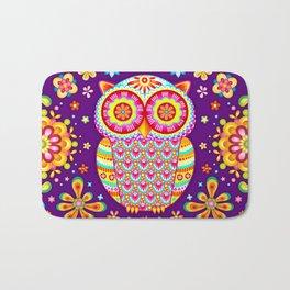 Colorful Owl Art Bath Mat
