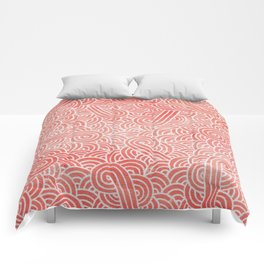 Peach echo and white swirls doodles Comforters
