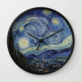 The Starry Night by Vincent van Gogh 1889 // Abstract Brush Stroke Detail Mountains Stars City Scene Wall Clock