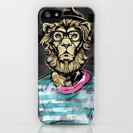 Hipster Lion on Black iPhone Case
