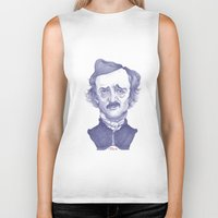 edgar allan poe Biker Tanks featuring Edgar Allan Poe illustration by Stavros Damos