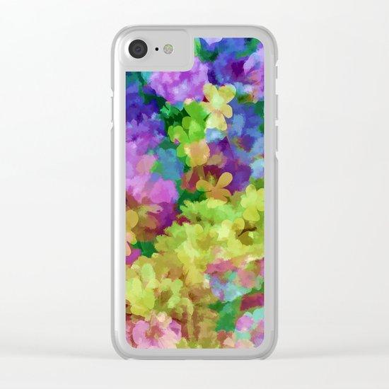Watercolor Garden Flowers Clear iPhone Case