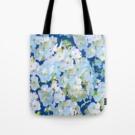 DELICATE TEAL & WHITE LACE FLORAL GARDEN Tote Bag