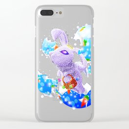 'You Cracked the Egg' Series - Easter Angelic Bunny Clear iPhone Case