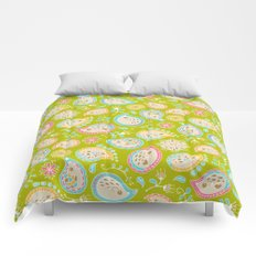Hedgehog Paisley_Colors and Green Comforters