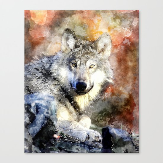 Wolf Animal Wild Nature-watercolor Illustration Canvas Print