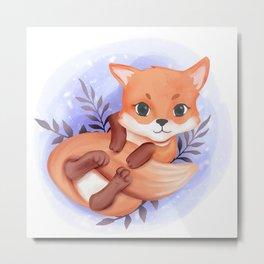 Baby Fox Playing Tail Metal Print
