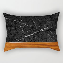 Marble and Wood Rectangular Pillow