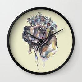 Beagle with a flower wreath - by Fanitsa Petrou Wall Clock