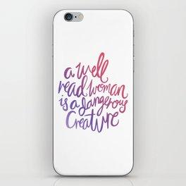 Well Read Woman - Girl Nerd Quote - Gradient iPhone Skin