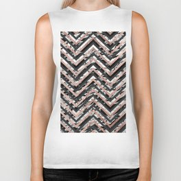 Black and White Marble and Rose Gold Chevron Zigzag Biker Tank