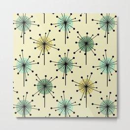 Atomic Era Sputnik Starburst Flowers Mint Metal Print