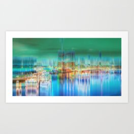 Amsterdam Habor by night Art Print