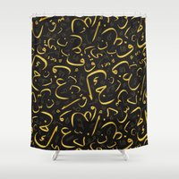letters Shower Curtains featuring Golden Letters by LightCircle