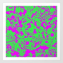 Fuchsia Spray Splatters on Neon Green Surface Art Print