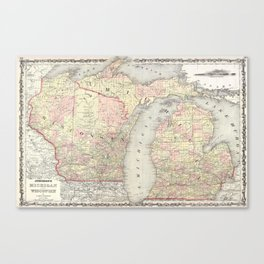 Vintage Map of Michigan & Wisconsin (1862) Canvas Print