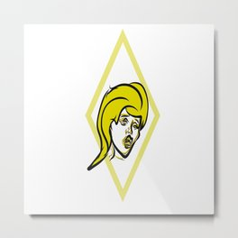Yellow diamond pop art Metal Print