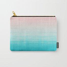Grunge Pastel Millennial Pink Aqua Blue Teal Mint Linen Pattern Ombre Gradient Texture Carry-All Pouch