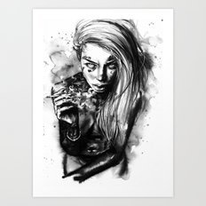Tattooed babe Liz Art Print