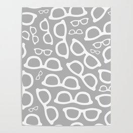 Smart Glasses Pattern - Grey Poster