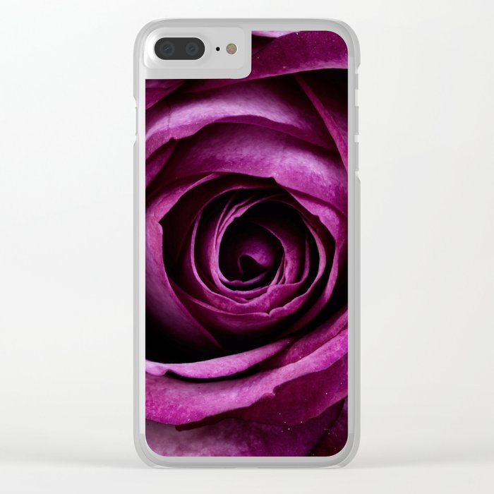 Closeup Petals x Burgundy Clear iPhone Case