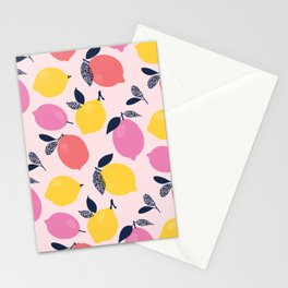 Kitschy Colorful Citrus Pattern Stationery Cards