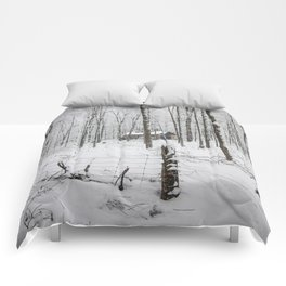 Shack in the Snow Comforters