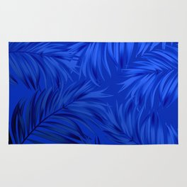 Palm Tree Fronds Brilliant Blue on Blue Hawaii Tropical Décor Rug