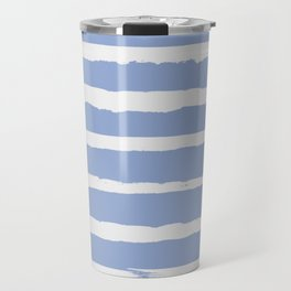 Irregular Hand Painted Stripes Light Blue Travel Mug