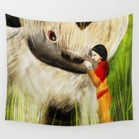 korra Wall Tapestries featuring Jinora with Bison by Pam Casey Art & Illustration