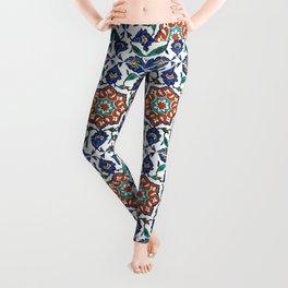 Iznik Tile Pattern Red Blue White Leggings