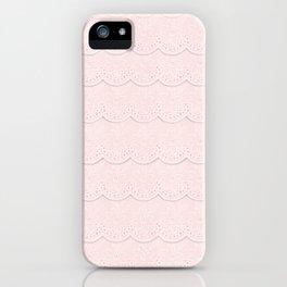 Rose Quartz  Pink Faux Lace iPhone Case