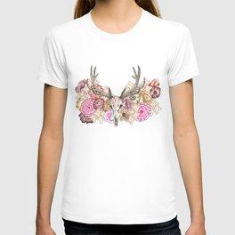 Pink Floral Elk Skull T-shirt