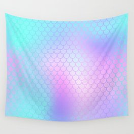 Turquoise Pink Mermaid Tail Abstraction Wall Tapestry