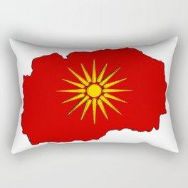 Macedonia Map with Macedonian Flag Rectangular Pillow