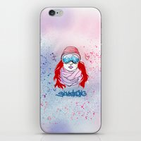 snowboarding iPhone & iPod Skins featuring I LOVE SNOWBOARDING  by Ylenia Pizzetti