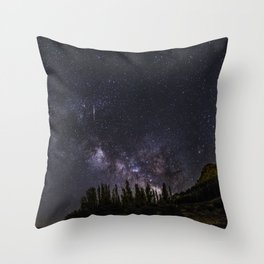 """Meteorite"". Milky way at the mountains Throw Pillow"