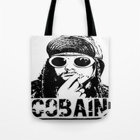 kurt cobain Tote Bags featuring Vector Cobain by Emma Porter