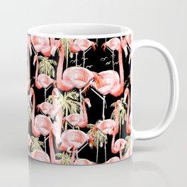 Pattern of flamingos among golden palm trees I Coffee Mug