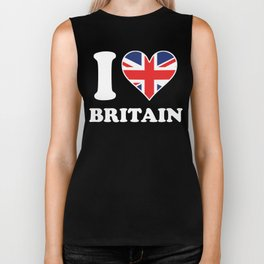 I Love Britain British Flag Heart Biker Tank