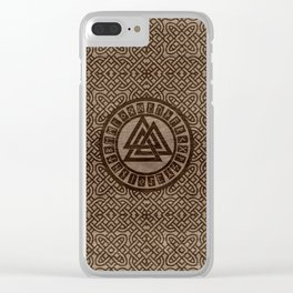 Valknut Symbol and Runes on Celtic Pattern on Wood Clear iPhone Case