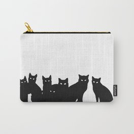 Seven black cats in white space. Carry-All Pouch
