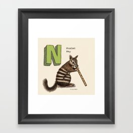 Animals & Instruments ABCs – N Framed Art Print