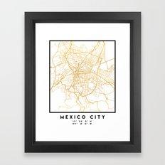 MEXICO CITY MEXICO CITY STREET MAP ART Framed Art Print