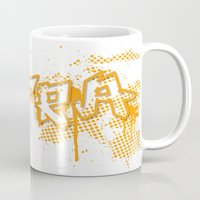 grafitti Mugs featuring extra splash orange grafitti design by sleepwalkerMTS