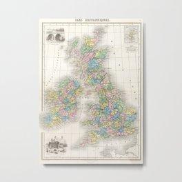 Vintage Map of The British Isles (1878)  Metal Print