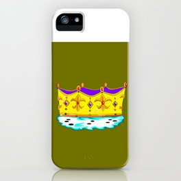 A Royal Crown with a Green Background iPhone Case