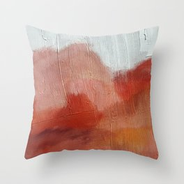 Desert Journey [2]: a textured, abstract piece in pinks, reds, and white by Alyssa Hamilton Art Throw Pillow